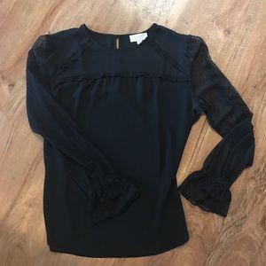 Dressy, long-sleeved black blouse from LOFT. Sz S